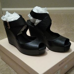BCBG leather platform wedges